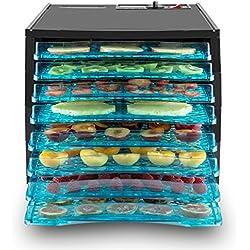 Klarstein Fruit Jerky 8 Deshidratador de fruta, verduras o carne (secador 650W potencia, 8 pisos bandejas, calentador alimentos, temperatura y tiempo secado ajustable, superficie para secar casi 1m², pantalla LCD, deshidratadora negra)