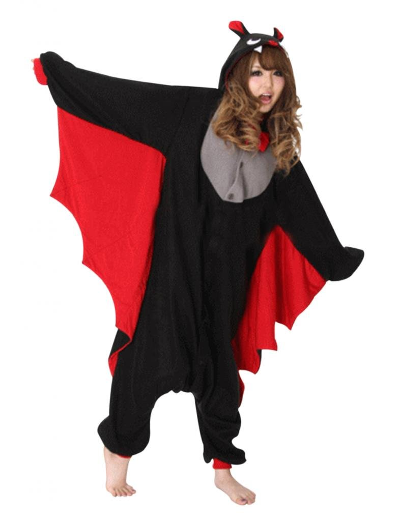 Unisex Kigurumi Pajamas Adult Cosplay Costume Onesies Black Bat