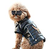 NACOCO Pu Leather Motorcycle Jacket, Dog Puppy Pet Clothes Leather Jacket, Watherproof (S)