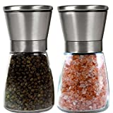Salt and Pepper Grinder Set - Salt and Pepper Shakers - Adjustable Ceramic Spice Grinder - Easy to Fill Salt and Pepper - Pepper Grinder Maintains Spice Freshness - Pepper Mill - Salt Mill
