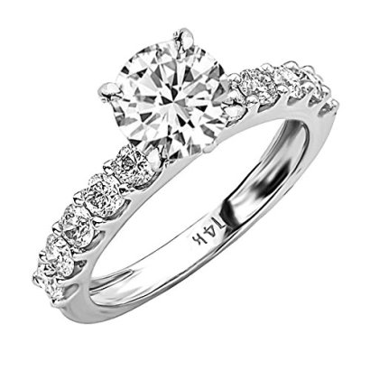 164-Carat-14K-White-Gold-Classic-Side-Stone-Prong-Set-Round-Cut-Diamond-Engagement-Ring-I-Color-SI2-Clarity