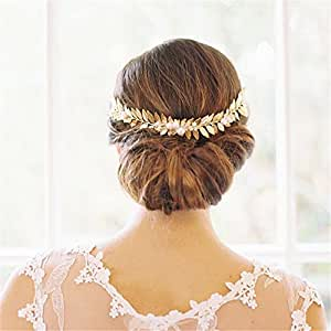 sunshinesmile vintage wedding bridal gold crystal pearl leaf hair accessories