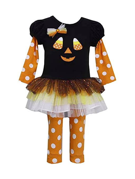 Bonnie Jean Girls Halloween Jack O Lantern Dress Legging Outfit, Black, 2T - 6X