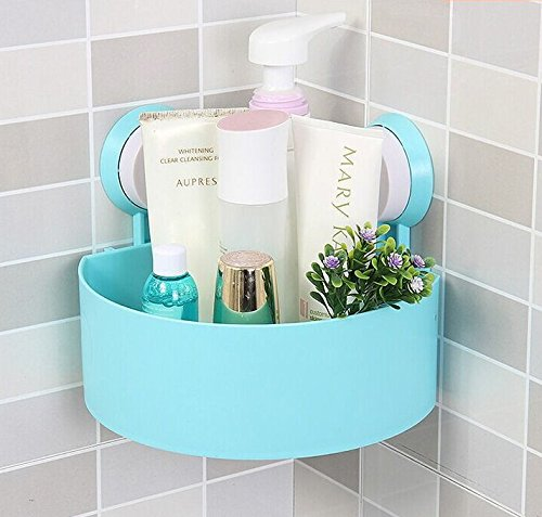 Rainbow Love Strong Sucker Tripod Triangle Bathroom Corner Shelving Shelf Storage Racks for Bathroom Toilet Kitchen Blue