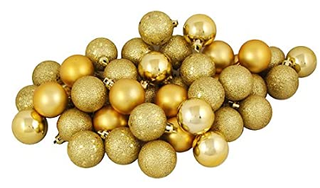 96ct Gold Shatterproof 4-Finish Christmas Ball Ornaments