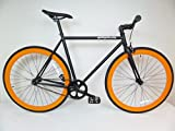 Matte Black and Orange Fixie Single Speed Fixie Bike with Flip Flop Hub By Sgvbicycles Fixies
