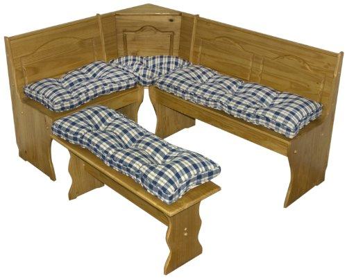 greendale home fashions 4 piece nook cushion set applegate plaid navy blue connorarmstrongsudr