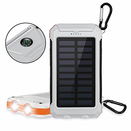 Aedon モバイルバッテリー 大容量10000mAh ソーラーチャージャー 羅針盤が付き 防水設計 2USBポート スーマットフオン iPhone、Samsung、Sony、HTCデバイスなど充電できる 充電できる 白色