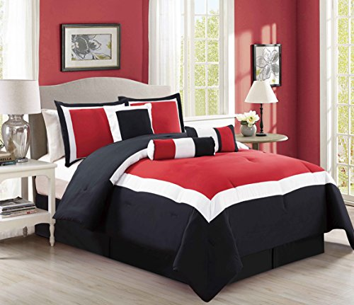 7 Piece Oversize Burgundy Red / Black / White Color Block Comforter Set