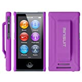 MiniSuit JAZZ Slim Shell Case with Belt Clip + Screen Protector for iPod Nano 7 (Rubberized Purple)