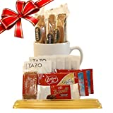 Cottage Lane Tazo Tea Mug Gift Set with Nonni's Biscotti, Biscoff Cookies, & Honey Stix
