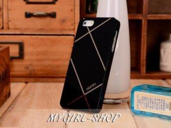 iPhone5 高品質カバーケース 幾何図形模様 光沢鏡面 漆黒
