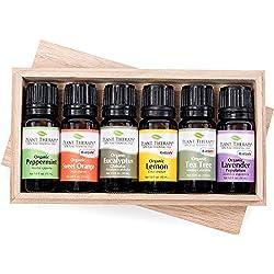 Top 6 Organic Essential Oils Set. Includes 100% Pure, Undiluted, Therapeutic Grade Essential Oils of Eucalyptus, Lavender, Orange, Peppermint, Lemon and Tea Tree. 10ml Each