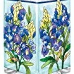 Amia Glass Vase/Votive with a Colorful, Hand-Painted Bluebonnet Floral Design, 6-Inches Tall