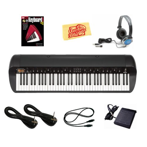 Korg SV-1BK Stage Vintage Piano Bundle with Sustain Pedal, Essential Cables Pack, Headphones, Instructional Book, and Polishing Cloth - Black