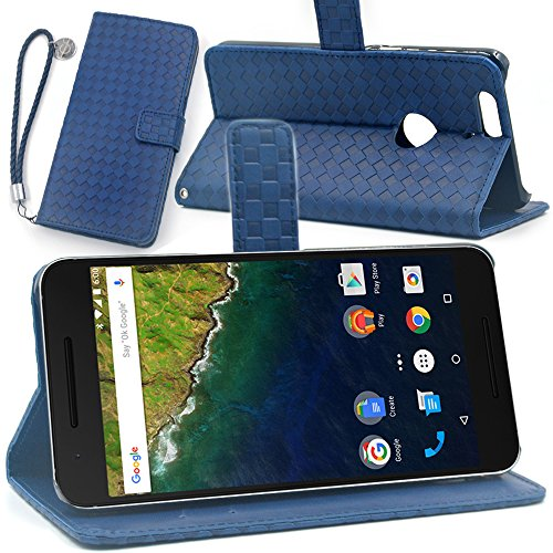 F.G.S ストラップ付き ブルー Huawei Google Nexus 6P ケース Nexus 6P カバー Nexus 6P 手帳 ケース スタンド機能付き カードホルダー付き ストラップとフィルム付き 全5色 並行輸入品