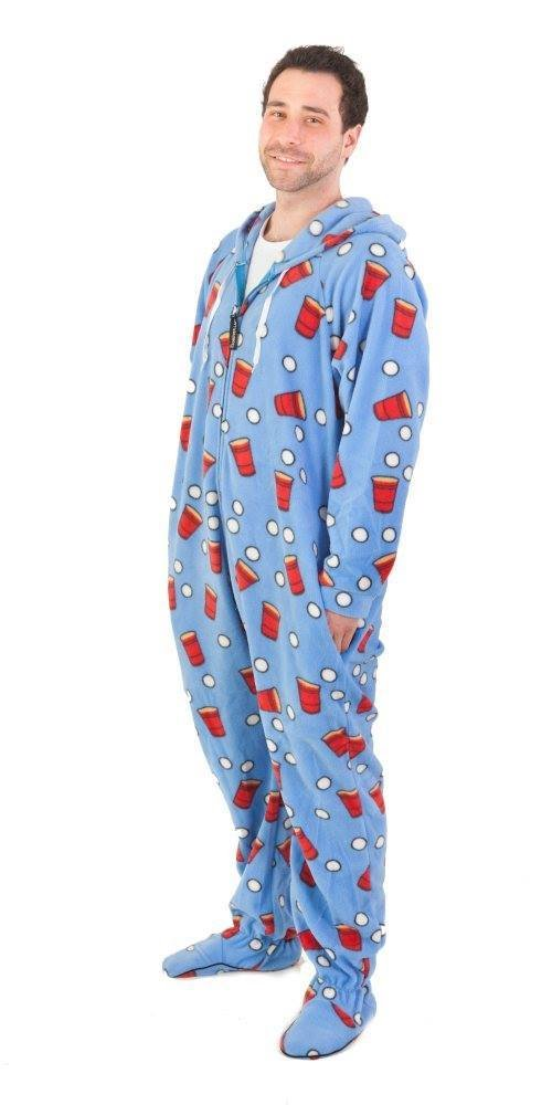 Beer Pong Unisex Footed Adult Onesie