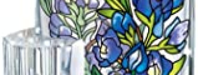 Amia Hand Painted Acrylic Pen Holder Featuring a Bluebonnet Floral Design, 4-1/2-Inch