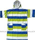 IGNITE イグナイト フルジッパーポンチョ ボーダー(BEI×BLUE×LIME) お着替えポンチョ 水着やウエットの着替え