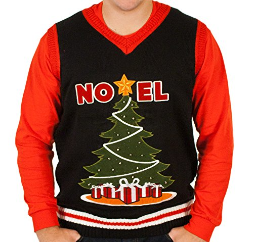 Ugly Lighted Christmas Tree Sweater Vest in Black