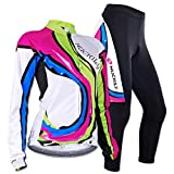 Sponeed Women's Cycle Jersey Bike Clothing Gel Padded Racing Long Sleeve Size L US Multi