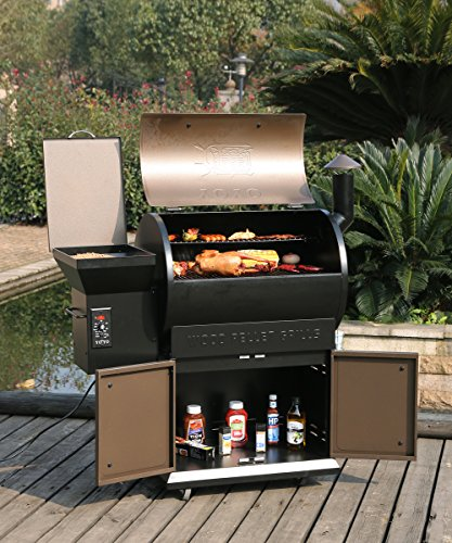 YOYO Wood Pellet Grill and Smoker 679 sq in BBQ with Digital Controls 22K BTU Barbecue Smoker