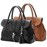 ABBEY Clasp Lock Tassel Black Soft Leatherette Office Tote Briefcase Satchel Tote Bag Handbag Purse - 2 color option