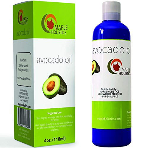 100% Pure Avocado Oil – Deep Tissue Moisturizer for Hair, Face & Skin – Rich in Retinol & Vitamin E to Reduce Wrinkles – Supports Skin Rejuvenation & Hair Growth – 4 Oz – USA Made By Maple Holistics