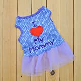 "Summer Apparel Puppy Dog 2014new pet puppy small dog apparel clothes ""i love mommy"" lady casual dress"