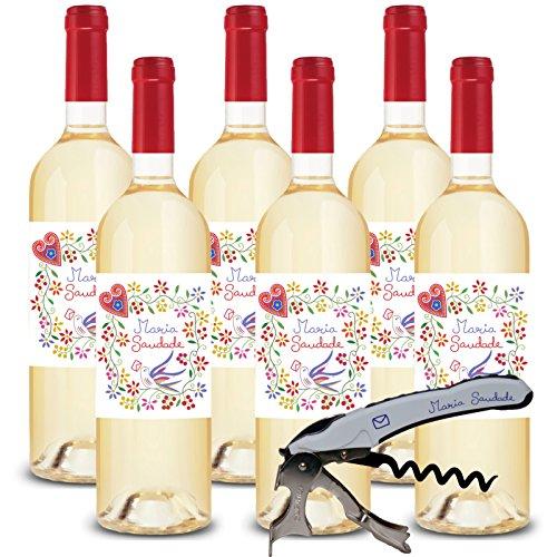 Maria Saudade Set ( 6x 0,75 Lit.) + 1 Korkenzieher Gratis - Grüner Wein - Vinho Verde, Portugal
