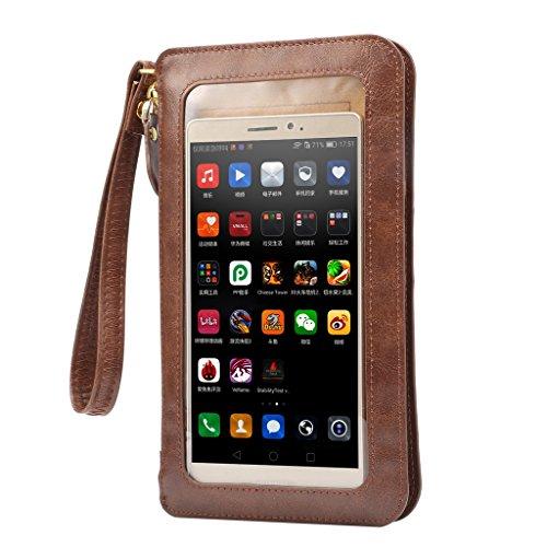 【YR】 携帯電話ポーチ ミニ ショルダーバッグ レディースバッグ ハンドバッグ 上質のレザー 入れたまま触れる 防塵 全面保護 IPhone5S/IPhone SE/Iphone 6S/Iphone 6S Plus/Galaxy/Xperia/AQUOS/ARROWS対応 レディースバッグ カメラポーチ ホルスター ケース アイフォン6/アイフォン6プラスポーチ -褐色