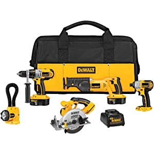 DEWALT DCK555X 18-Volt XRP 5 Tool Combo Kit - Hammer/Recip/Circ. Saw/Impact/Light