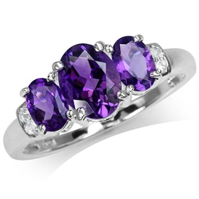 197ct-3-Stone-Natural-African-Amethyst-White-Topaz-Gold-Plated-925-Sterling-Silver-Ring