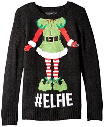 Blizzard-Bay-Big-Girls-Elfie-Christmas-Sweater-BlackGreen-Small