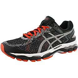 ASICS Men's Gel Kayano 22 Lite Show Running Shoe, Carbon/Silver/Cherry Tomato, 12 M US