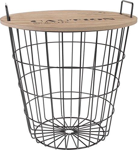 Design-Beistelltisch-aus-Metall-mit-Holz-Tischplatte-dekorativer-Couchtisch-inkl-Korbablage