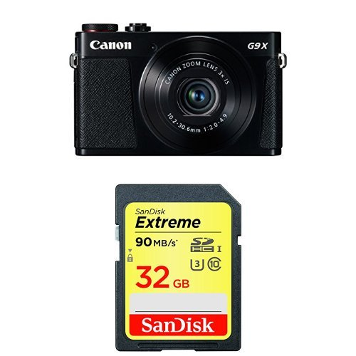 Canon PowerShot G9 X Digital Camera (Black) with 32GB Memory Card