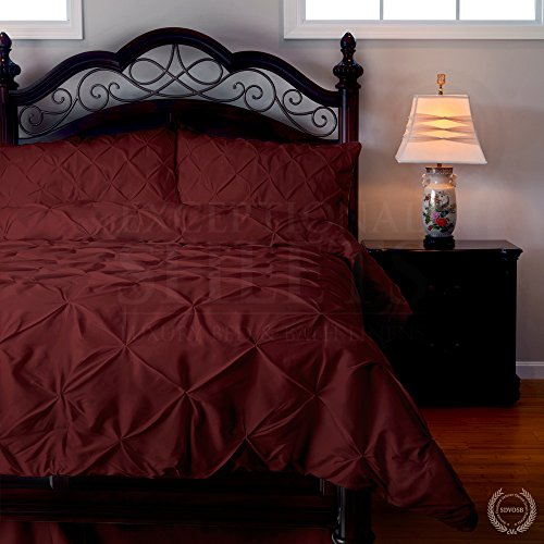 Emerson 4-Piece Pinch Pleat Puckering Comforter Mini Set , Queen, Red