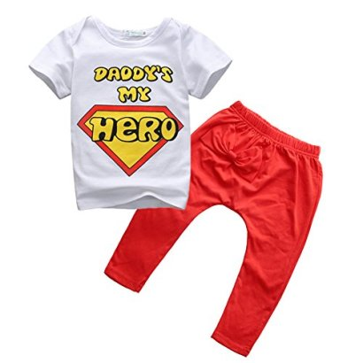 Baby-Boys-Girls-Daddy-is-my-HeroT-shirt-and-Red-Pants-Outfit