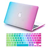 Dealgadgets Rubberized Surface Crystal Hard Shell Case for MacBook Pro 13.3-inch A1278 Aluminum Unibody with Silicone Keyboard Cover Skin Stickers Protector Rainbow (NOT compatible with: MacBook 13.3 inch with retina display)