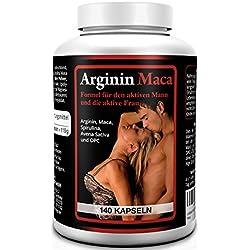 L-ARGININ 1500 mg PLUS MACA GOLD 3500 mg 140 Kapseln, Tabletten - Spezialprodukt mit Vitaminen, Aminosäuren, Zink - Monatskur