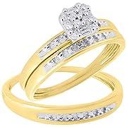 10k Yellow Gold Round Diamond Cluster Matching Wedding Ring Trio Set 1/10 Cttw