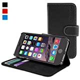 Snugg iPhone 6 Leather Flip Case in Black - Flip Wallet case with Card Slots, Stand and Premium Nubuck Fibre Interior for the Apple iPhone 6