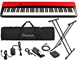 Casio PX-130 Red Digital Piano STAGE BUNDLE w/ Case, Stand, & Pedals