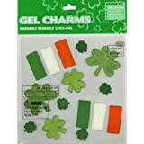 Shamrocks Irish Flag St Patrick's Day Gel Window Clings Charms Stick-ons