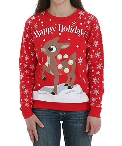 Freeze Womens Rudolph Happy Holidays Christmas Sweater Red Medium Red