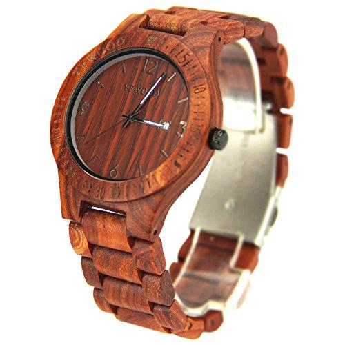 木製腕時計 優しい赤檀木の温もりを生かした腕時計 カレンダー付き 男女兼用 メンズに圧倒的な人気ウッドウォッチ ユニセックス ブランド 人気 ランキング 贈り物 (赤檀) 51W3iP4aAkL
