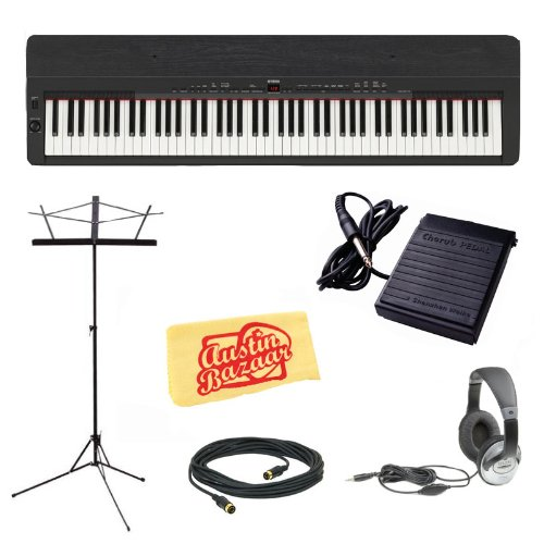 Yamaha P155B Digital Piano with Ebony Top-Board Bundle with Sustain Pedal, Headphones, Music Stand, MIDI Cable, and Dust Cloth - Black
