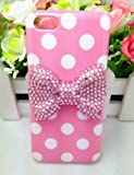 Lovely Cute 3D Bling Special Party Dot Pattern Case Cover For Apple iPhone 5C (Pink Bow)