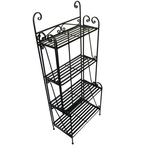folding piper bakers rack four shelves black great chance uppliess3